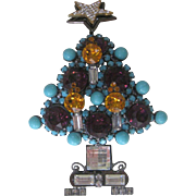 LARRY VRBA Huge 3 Dimensional  Rhinestone & Glass Xmas Tree