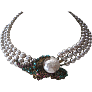 MIRIAM HASKELL Beautiful 3 Strand Baroque Style Pearls Rhinestone Cluster Necklace