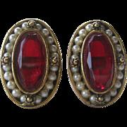 Cufflinks Vintage Red Glass & Pearls Stunning