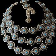 OSCAR DE LA RENTA 3 Strand Enamel Rhinestones & Turquoise Bead Necklace