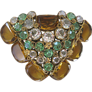 Unsigned HOBE Openback Glass Intricate Vintage Dress Clip