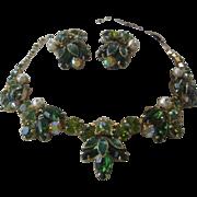 WEISS Enamel Pearls & Rhinestones Necklace & Earrings Demi Parure