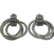 1940s Dangling Triple Rhinestones Hoops Vintage Earrings