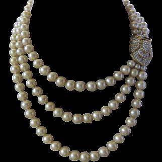 KJL For LAGUNA Beautiful Triple Strand Glass Pearls & Large Rhinestone Catch