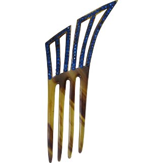 French Blue Rhinestone & Faux Tortoise Art Deco Hair Comb