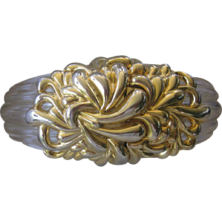 INNA CYTRINE. PARIS. Large Ribbed Clear Lucite & Ornate Gold Tone Cuff Bracelet