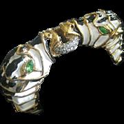K.J.L. Heavy Vintage Enamel & Rhinestones Animal Cuff Bracelet Early Kenneth Lane Signature