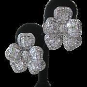 JARIN Brilliant Openback CZs Gorgeous 3D Flower Earrings