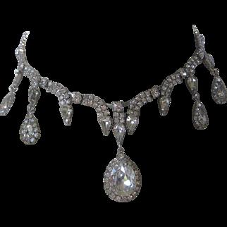 KRAMER Of NY Clear Rhinestones Wedding Vintage Drop Necklace