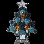 Lawrence VRBA Beautiful Blue Stones & Aqua Rhinestone Balls Large 3 D Xmas Tree Pin