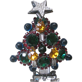 LARRY VRBA Huge 3D Rhinestone & Glass Candle Xmas Tree