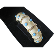 K.J.L. Early Signature Kenneth Lane Turquoise Stones & Enamel Hinged Cuff Vintage Bracelet