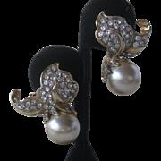 K.J.L. Stunning Rhinestone & Pearl Early Signature Kenneth Lane Earrings