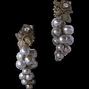 MIRIAM HASKELL Dangling Pearls & Rhinestones Vintage Earrings