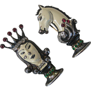 TRIFARI Very Rare Enamel & Rhinestones Chess Queen & Pawn Fur Clip Vintage Pins