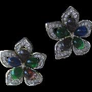 NLH Mogul Stones & Rhinestones Vintage Flower Earrings