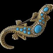 Beautiful Ornate Vintage Large Turquoise & rhinestones Lizard Pin Brooch