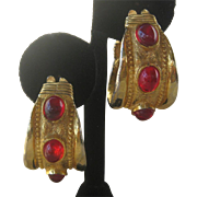 K.J.L. Large Red Glass Stones Early Signature Kenneth Lane Hoop Earrings
