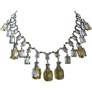Stunning Dangling Openback Lemon & Clear Glass Stones Large Bib Necklace