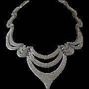 ORA Beautiful Vintage Billowing Links Of Rhinestones Bib Necklace