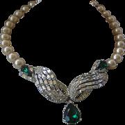 Vintage Art Deco Rhinestones & Glass Pearls Drop Sterling Necklace