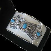 Wide Enamel & Rhinestones Art Deco Design Cuff Bracelet