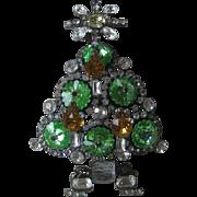 LARRY VRBA Beautiful Large Light Green Rivoli Stones Glass Candle Xmas Tree