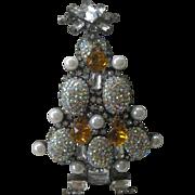 Lawrence VRBA Beautiful Rhinestones Pearls & Glass Large 3 D Xmas Tree