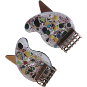 RENOIR Enamel Painters Palette Vintage Earrings