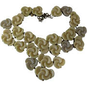 OSCAR DE LA RENTA Unusual Huge Molded Flowers & Rhinestones Signed Necklace