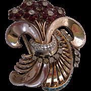 CORO STERLING Large Rhinestones Floral Vintage Pin Brooch