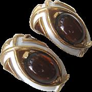 TRIFARI Enamel & Glass Vintage Earrings