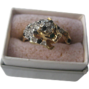 Fabulous Rhinestone Panther Vintage Ring Size 8