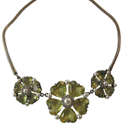 TRIFARI Glass Heart Flowers & Pearls Vintage Necklace