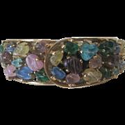 Vintage Fruit Salad Type Glass Stones Cuff Bracelet Wind Up Watch