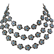 OSCAR DE LA RENTA 3 Strand Flower Enamel Rhinestones & Turquoise Bead Necklace