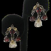 Beautiful Genuine Garnets & Citrines 925 Sterling Silver Earrings