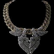 OSCAR DE LA RENTA Rhinestone Lovebirds Heavy Beautiful Necklace