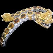 Genuine Sapphires & 925 Sterling & Gold plate Snake Cuff Bangle Bracelet