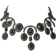OSCAR DE LA RENTA Stunning Sapphire Glass & Pave Large Bib Necklace Wow