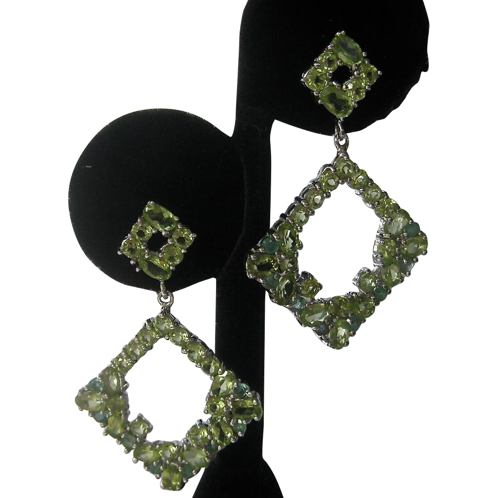 Emeralds & Peridot Gemstones In 925 Sterling Silver Dangling Earrings