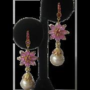 Rubies & Pearls Gold Plated 925 Sterling Silver Dangling Earrings