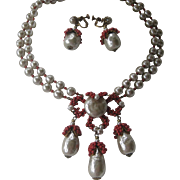 MIRIAM HASKELL Baroque Pearls & Coral Dangle Necklace & Earrings Demi Parure Set