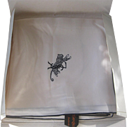 YSL Beautiful 1960s Vintage Ivory & Black Silk Scarf In Orignal Package