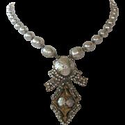 MIRIAM HASKELL  Baroque Pearls & Rhinestones Stunning Vintage Necklace