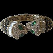 KJL Unsigned Heavy Large Panthers Rhinestones & Jet Oval Stones Cuff Bracelet