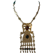 ACCESSOCRAFT Etruscan Gold Metal Cabochon Vintage Egyptian Revival Long Bib Necklace