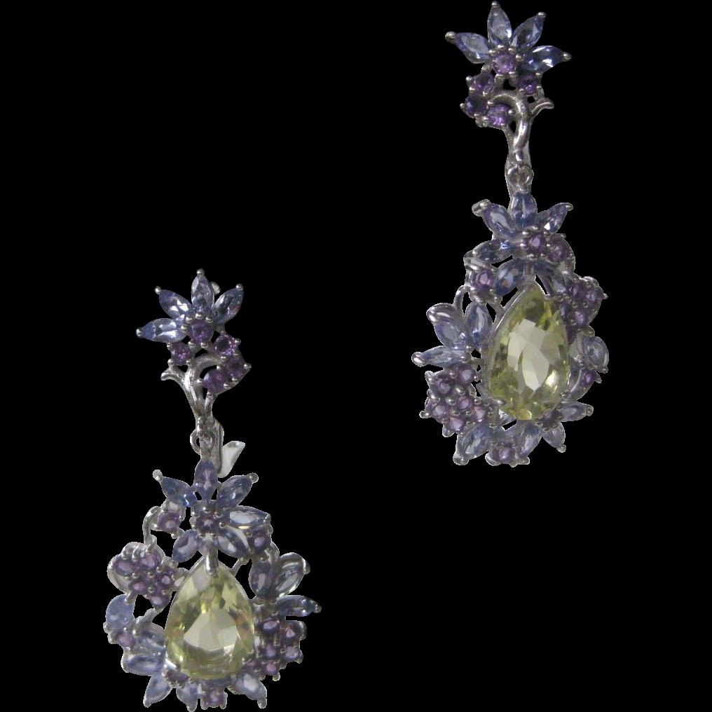 Amethysts Lemon Quartz & Tanzanite 925 Sterling Silver Earrings