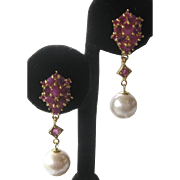 Red Rubies & Pearls 14 Kt Gold Plate Over 925 Sterling Silver Earrings