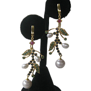 Emerald Ruby Sapphires & Pearls Set In 14Kt Gold Plate Over 925 Sterling Silver Earrings